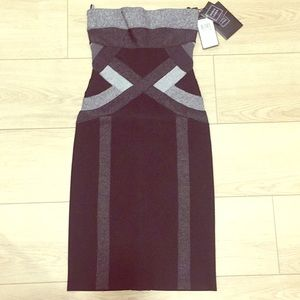 NWT Herve Leger Black Strapless Dress